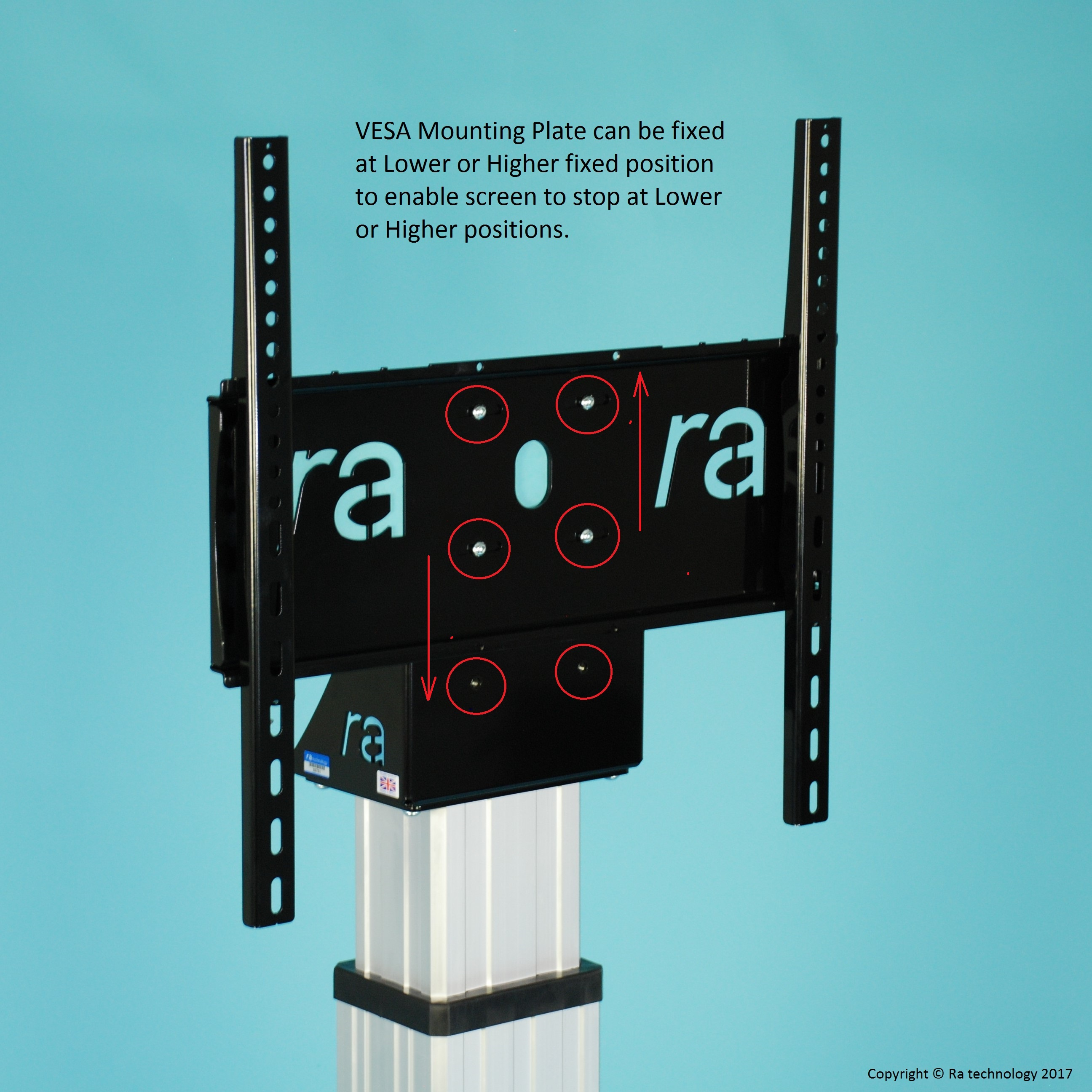 RA Media Mate Monitor Mobile Electric Height Adjustable Trolley